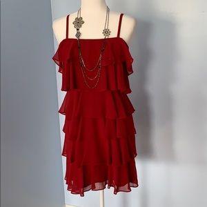 Loft red cocktail ruffle dress